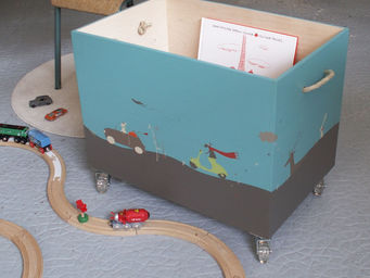 ICI LA TERRE - coffre � jouets en bois � roulettes - napoli - Coffre � Jouets