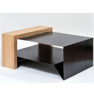 ATELIER MOBIBOIS - table basse en métal et bois konnect - Table Basse Forme Originale