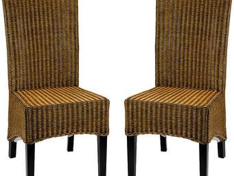 ZAGO - chaise en rotin pain d'épices 45x55x100cm (par 2) - Chaise
