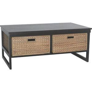 Aubry-Gaspard - table basse 2 tiroirs en h�v�a et jacinthe 90x55x3 - Table Basse Forme Originale