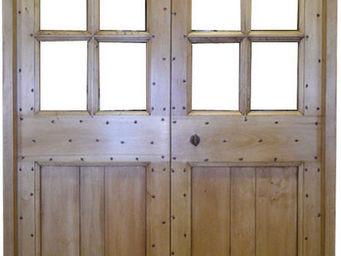 Portes Anciennes - modele cochonière vitrée 2 vantaux tilleul - Porte De Communication Pleine