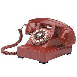 US Connection - téléphone de bureau crosley 1950s rouge - Téléphone Décoratif