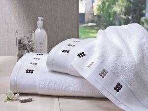 BLANC CERISE - serviette de toilette blanc et sable - coton peign - Drap De Bain