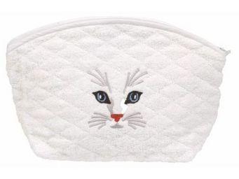 SIRETEX - SENSEI - trousse eponge brodé tête de chat 420gr/m² coton - Trousse De Toilette