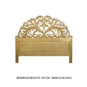 DECO PRIVE - tete de lit baroque 160 cm en bois dore modele bea - Tête De Lit