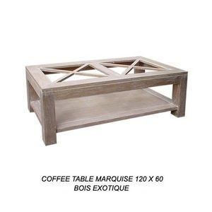 DECO PRIVE - table basse marquise cerusee 120 x 60 cm - Table Basse Rectangulaire