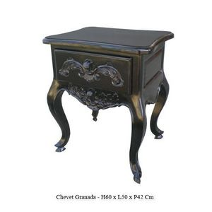 DECO PRIVE - chevet baroque en bois noir granada - Table De Chevet