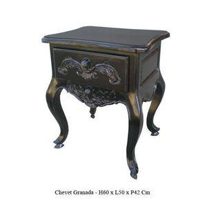 DECO PRIVE - chevet baroque en bois noir granada - Table De Chevet