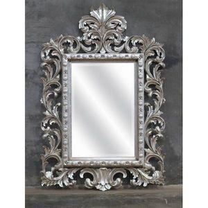 DECO PRIVE - miroir en bois argente modele beauty - Miroir