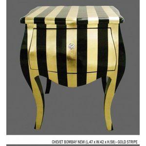 DECO PRIVE - chevet baroque dore et noir modele bombay - Table De Chevet