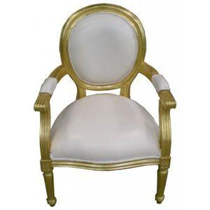 DECO PRIVE - fauteuil cabriolet dore et imitation cuir blanc - Fauteuil Médaillon