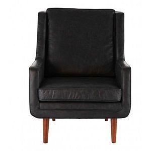 DECO PRIVE - fauteuil en cuir vachette noir modele bjork - Fauteuil