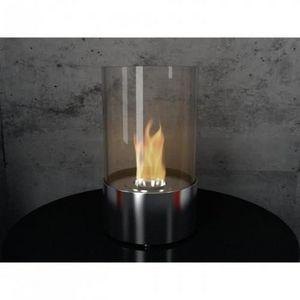 WHITE LABEL - chemine biothanol cylindus miroir pm - Cheminée Sans Conduit D'évacuation