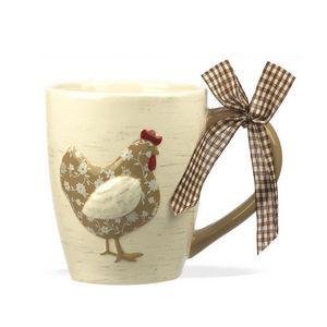 WHITE LABEL - mug cocotte en faïence - Mug