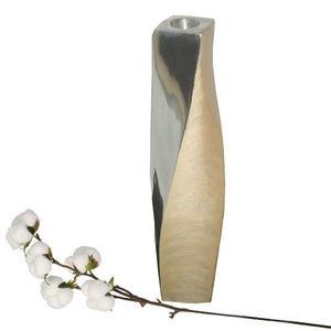 WHITE LABEL - soliflore spirale métalisé - Vase Décoratif