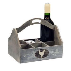 WHITE LABEL - casier cocotte en bois pour ranger 6 bouteilles - Porte Bouteilles