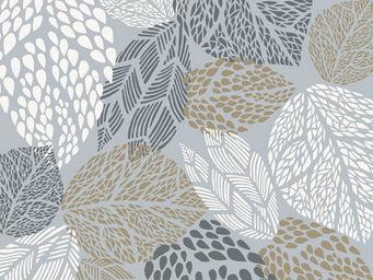 FLEUR DE SOLEIL - tissu feuilles gris beige 160x160 - Tissu D'ameublement