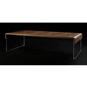 KOKOON DESIGN - table basse de salon design bois et métal chromé w - Table Basse Rectangulaire