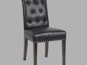 BLANC D'IVOIRE - zoe façon cuir noir - Chaise