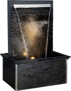 Cactose - fontaine verso black large en pierre de schiste 88 - Fontaine Centrale D'extérieur
