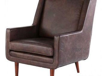 ZAGO - fauteuil bjorn en cuir marron 76x84x95cm - Fauteuil
