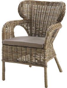 Aubry-Gaspard - fauteuil majesté en poelet gris avec coussin - Fauteuil De Jardin