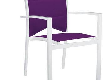 WILSA GARDEN - fauteuil de jardin modulo blanc parmes en aluminiu - Chaise De Jardin