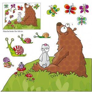 SERIE GOLO - sticker mural les animaux écoutent une histoire 13 - Sticker Décor Adhésif Enfant