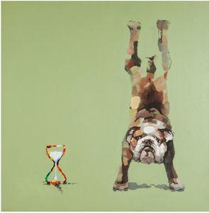KOKOON DESIGN - toile peinte bouledogue time structure bois 100x10 - Tableau Décoratif