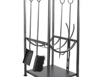 Aubry-Gaspard - porte-b�ches valet 4 accessoires en fer forg� gris - Porte Buches