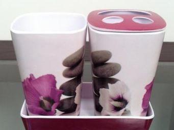 Cm - pot de salle de bain zen - couleur - rose - Accessoire De Salle De Bains (set)