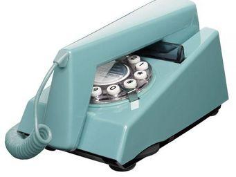 WHITE LABEL - téléphone trim bleu français - Téléphone Décoratif