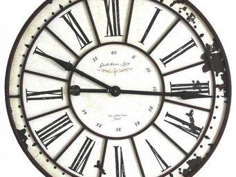 L'HERITIER DU TEMPS - horloge fer et bois 74 cm - Horloge Murale