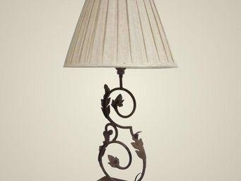 L'HERITIER DU TEMPS - lampe de charme en fer et lin 81cm - Lampe À Poser