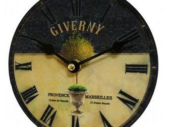 L'HERITIER DU TEMPS - horloge giverny noire et jaune 16,5cm - Horloge Murale