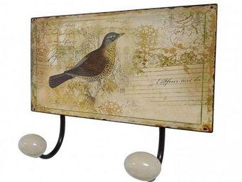 L'HERITIER DU TEMPS - patère double murale motif oiseau - Patère