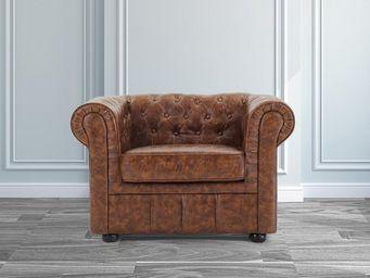 BELIANI - fauteuil en cuir brun old style chesterfield - Fauteuil Chesterfield
