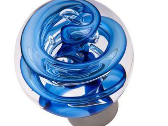 Les Verreries De Brehat - tubes de bulles sphérique bleu - Bouton De Porte