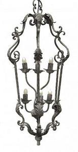Demeure et Jardin - lanterne fer forgé 6 feux gris foncé - Suspension D'extérieur