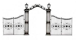 Demeure et Jardin - arche colonnes et grilles en fer forgé - Pilier De Portail