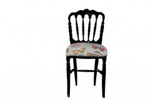 Demeure et Jardin - chaise napoléon iii tissu motifs lunettes - Chaise