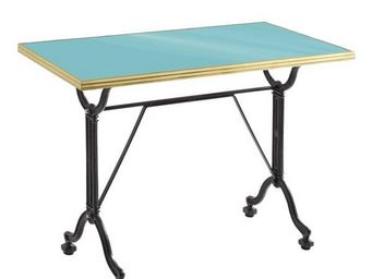 Ardamez - table de repas émaillée turquoise / laiton / fonte - Table De Repas Rectangulaire