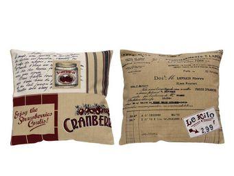 Interior's - duo de housse de coussin beige et rouge - Housse De Coussin