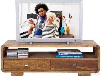 WHITE LABEL - meuble tv wood, 2 tiroirs en bois massif - Meuble Tv Hi Fi