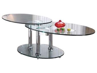 WHITE LABEL - wings table basse modulable en verre piétement aci - Table Basse Forme Originale