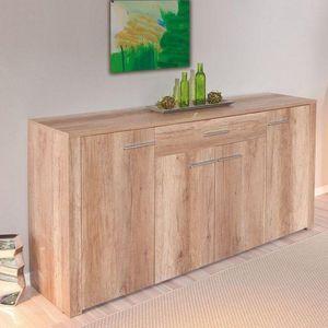 WHITE LABEL - buffet absoluto 4 portes et 1 tiroir en bois chene - Buffet Bas