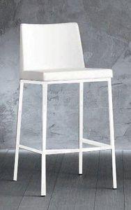 WHITE LABEL - chaise de bar erik en cuir éco blanc - Chaise Haute De Bar