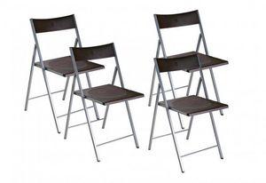 WHITE LABEL - belfort lot de 4 chaises pliantes marron - Chaise Pliante