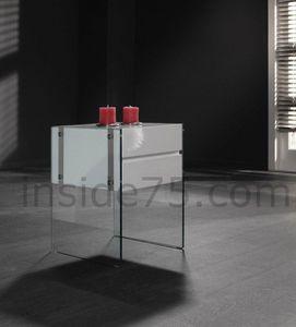 WHITE LABEL - table de chevet bedtable laquée blanc et piètement - Tables Gigognes