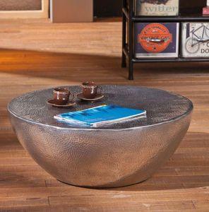 WHITE LABEL - table basse design pelas en aluminium - Table Basse Ronde
